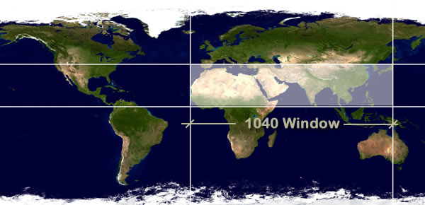 The 10 40 window for 10 40 window list of countries